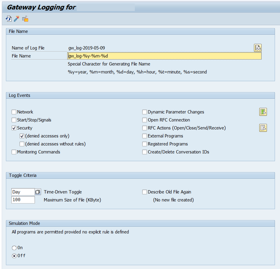 SAP Gateway Logging parameters