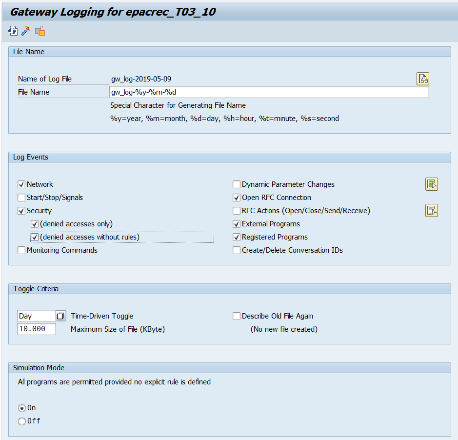 SAP Gateway Logging recommended parameters